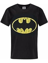 Batman - Camiseta de manga corta oficial de Batman mdoelo Distressed Logo para niños