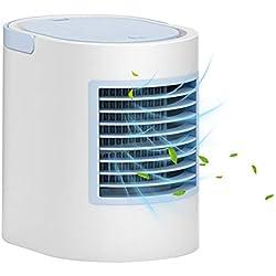 Womdee Mini Climatiseur Mobile Silencieux Personnel, Mini Refroidisseur d'air 4 en 1 Ventilateur De Climatisation Personnel Portable Mini Refroidisseur Humidificateur Purificateur 3 Vitesses