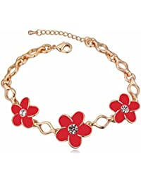 NEVI Flower Czech Crystals 18K Gold Plated Bracelet Jewellery For Women And Girls