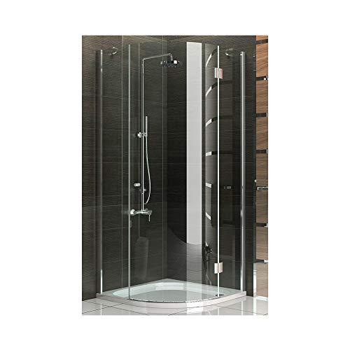 Duschkabine Viertelkreis Echtglas Duschabtrennung 90x90 x200 cm / Rahmenlos Dusche Komplet