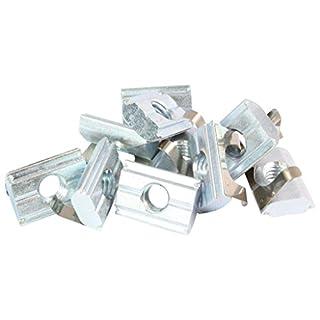 10x Nutenstein einschwenkbar mit Feder Nut 8 - Typ B - M8 mit Steg, Stahl