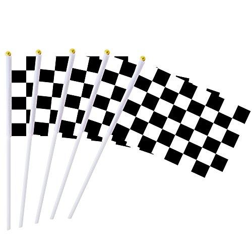 GentleGirl.USA Racing Karo-Flagge auf Kunststoffstab, Handstick-Flagge, 50 Stück, Rennwimpel-Banner-Flaggen, schwarz & weiß, Stick-Flagge, Dekorationszubehör, Rennauto-Party, Sportveranstaltungen