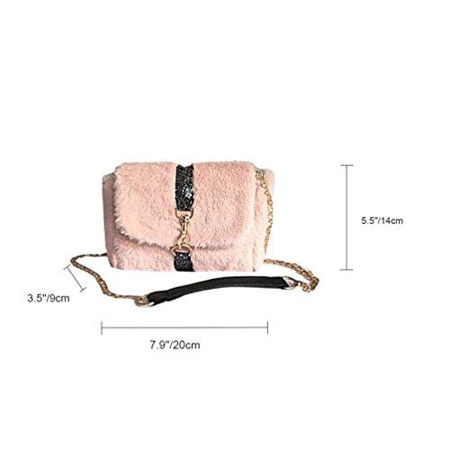 Vbiger Plush Lock Chain Bag Metal Chain Shoulder Bag Borsa A Tracolla Alla Moda Borsa Casual Per Le Donne Roseo
