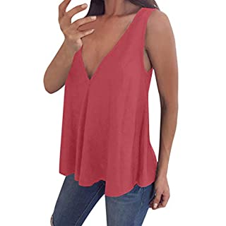 Yvelands Damen Weste Ärmelloses T-Shirt Tanktops Ärmelloses T-Shirt Sommer Bluse Plus Size Unterhemd(Rot,CN-4XL)