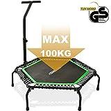 Merax Mini Trampoline Fitness Indoor, TÜV-Geprüft, 5 Fach Höhenverstellbarem Haltegriff &...