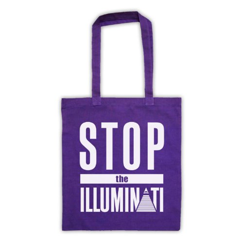 Stop The Illuminati-Tavola da Slogan Tote Bag Viola