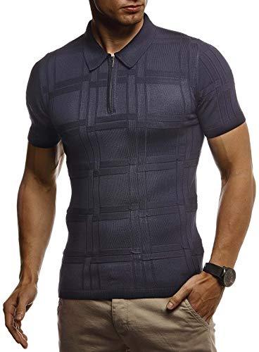 Kurzarm Vintage Poloshirt (LEIF NELSON Herren Sommer T-Shirt Poloshirt Slim Fit aus Feinstrick | Cooles Basic Männer Polo-Shirt Crew Neck | Jungen Kurzarmshirt Polo Shirt Sweater Kurzarm | LN7325 D. Blau Large)