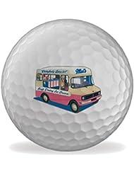 Ice Cream Van Martin Wiscombe 6 X Printed Bolas De Golf