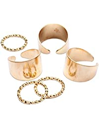 Young & Forever Elite 6pcs Punk Style Gold Stack Plain Midi Mid Finger Knuckle Ring Set For Women R3