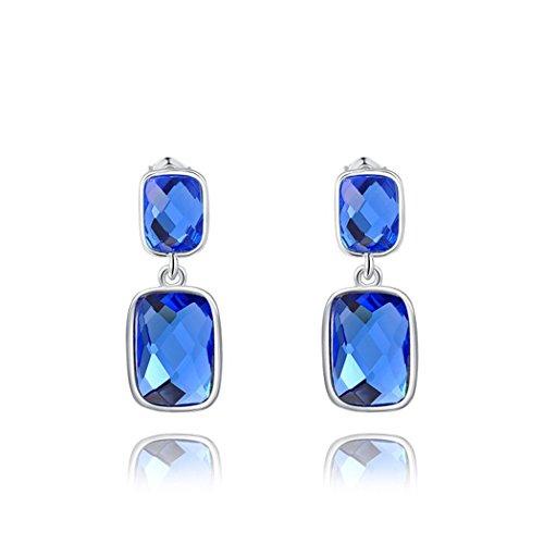 Yc-Ciondolo con cristallo blu, Bohemia-Orecchini pendenti, motivo signora elegante