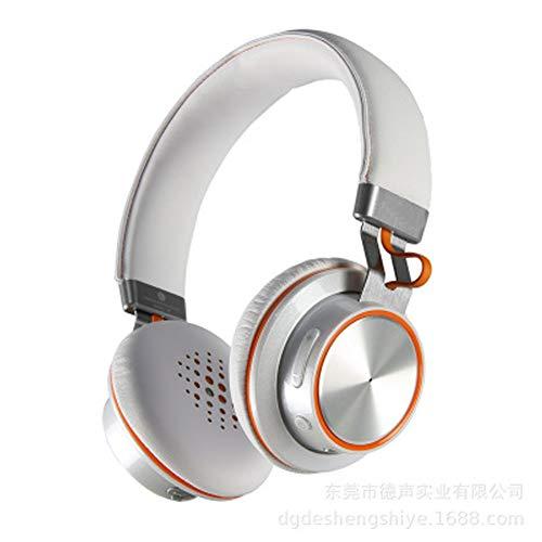 PXYUAN Cuffie Bluetooth, Auricolari Over Ear Auricolari Stereo con Microfono Noise Cancelling Stereo Solid, Cuffie da Gioco per Computer Portatili-White