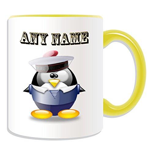 Themen Ozean Kostüm - Personalisiertes Geschenk-Sailor Tasse (Pinguin in Kostüm Design Thema, Farbe Optionen)-alle Nachricht/Name auf Ihre einzigartige-Meer Ozean Schiff, keramik, gelb