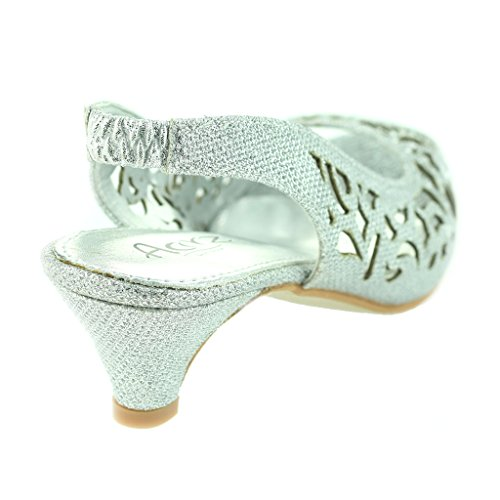 Frau Damen Abend Party Hochzeit Peeptoe Slingback Diamante Kittenheel Sandale Schuhe Größe Silber