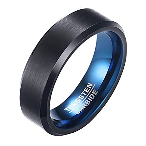 OAKKY Mens Tungsten Carbide Ring Engagement Wedding Band 6mm Black