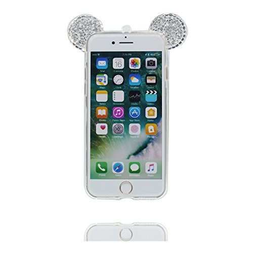 "Hülle iPhone 6 6s Cover 3D Cartoon Maus Ohr, Light Slim Diamonds Bling Bead Transparent iPhone 6 Handyhülle 4.7"", iPhone 6S case 4.7"" Kratzer beständig und Ring Ständer Fashionable # 2"