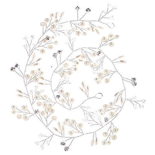1m Bijoux Cheveux Perles Couronne Fleur Cristal Serre Tête Guirlande Bandeau Headband pour Demoiselle d'Honneur Accessoire Mariage Femme Fête Anniversaire