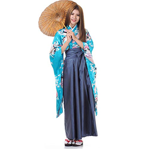 Princess of Asia Japan Damen Geisha Samurai Kimono Outfit Kostüm S M 36 38 40 (Türkis & (Geisha Samurai Kostüm)
