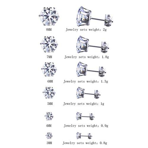 Ohrringe, HUIHUI 6 Pairs Ohrstecker Ohrschmuck Diamant Eternal Star Ohrringe Ohrstecker Silber Ohrstecker für Mädchen Damen Kinder Frauen Allergiefrei (Klar) (Große Diamant-ohrringe Für Männer)