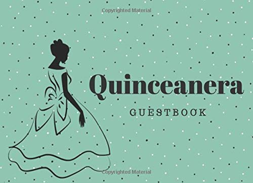 Quinceanera Guest Book: 15th Birthday Party with Gift Log for Quinceañera Party, Teal Blue with Polka Dots