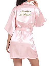 WPFING Bride Robes Satin White Bridesmaid Robes Personalised for Bridal Party Glitter