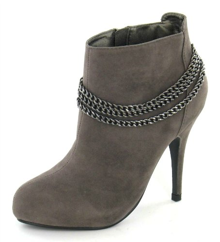 Spot On Chaussures Talons avec détail chaîne Taupe