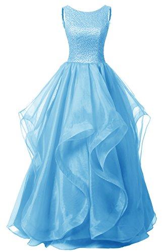 Dresstells Organza Bodenlang Abendkleider Abiballkleider Cocktail-Kleider Blau