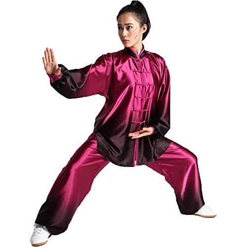 G-like Tai-Chi Uniform Damen Anzug - Chinesische Kampfkunst Taiji Wushu Wing Chun Shaolin Kung Fu Training Kleidung Farbverlauf Farbübergang Lange Ärmel Set (Schwarz&Rot, XL)
