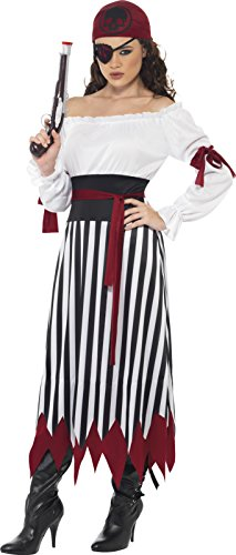 Piraten-Lady Kostüm Kleid mit Armbinden Gürtel und Kopftuch, Small