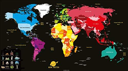 NowPoster Weltkarte zum Grattare, Geografica Weltkarte mit italienischem Euro, Scratch Map Art, Politischer Globus für Reisetagebuch, Silber/Schwarz 84 x 44 cm (Staaten-map-kunst Vereinigte)