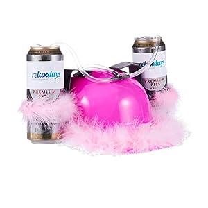juegos despedida de soltera originales: Relaxdays Gorra Cerveza Mujer para Dos Latas con Plumas, Color rosa 13 x 32 x 28...