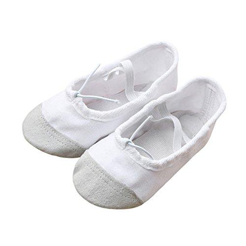 Baby Mädchen Ballerinas, Lenfesh Kinder Ballett Spitzentanz Schuhe Gymnastikschuhe (EU 24, Weiß)