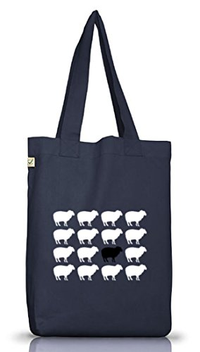 Shirtstreet24, Black Sheep, Juta Borsa In Tessuto Borsa Terra Positivo Jeans Blu
