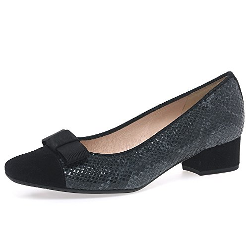 Peter Kaiser Ambone Womens Dress Scarpe Décolleté 6 Pelle Scamosciata Serpente/nero Di Carbonio