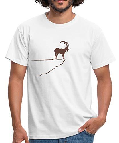 Spreadshirt Steinbock Am Fels Berg Alpen Bayern Männer T-Shirt, L, Weiß