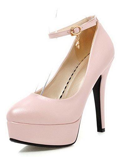VogueZone009 Damen Schnalle Leder Rund Pu Zehe Hoher Absatz Rein Pumps Schuhe Pink