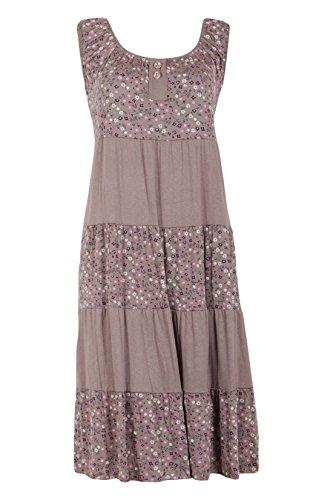 Moda Italy Damen Sommerkleid Wadenlang Strandkleid Freizeitkleid Stufen Optik Ärmellos Blumenmuster Braun