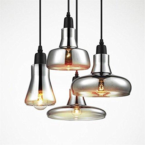 Joeyhome Vintage Glas Pendelleuchte grauen Farbe, Farbe, Farbe amber Anhänger Leuchten mit Glühlampen 110V/12V LED Pendelleuchten, D-Stil, Grau Glas -