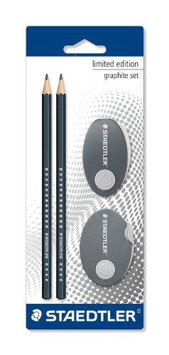 Staedtler – Lápices (3 unidades, con goma y sacapuntas, edición limitada)