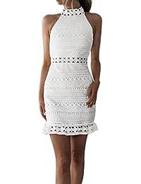Longra Bianco Abito da Sposa Gonna Sexy da Donna in Pizzo Mini Abito Vestiti  Donna Elegante Cerimonia Corti Eleganti Manica Lunga Senza… 715707e8ce7
