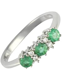 Ivy Gems 9ct White Gold Emerald and Diamond Trilogy Ring