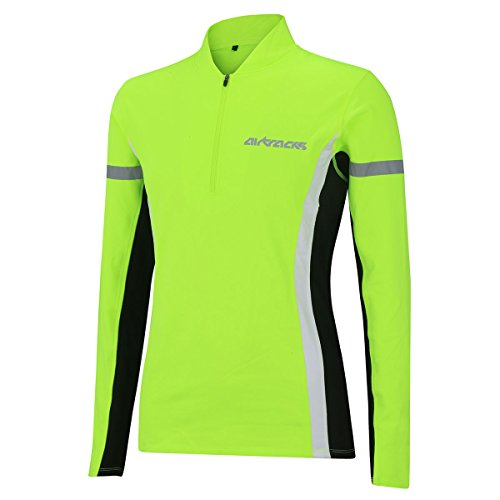 Airtracks Winter Funktions Laufshirt/Damen oder Herren/Thermo Funktionsshirt/Fleece Running T-Shirt/Reflektoren/Langarm - neon - XL - Herren