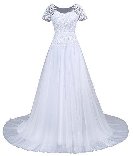 Romantic-Fashion Brautkleid Hochzeitskleid Weiß Modell W043 A-Linie Kurzarm Satin Perlen Pailetten...