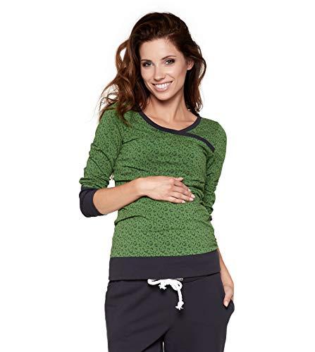 Be! Mama! Umstandsshirt mit Stillfunktion, Modell: Monic - Langarm, grün mit Muster, SM