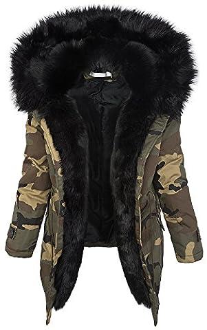 Damen Winter Parka Kunstfell Kapuze Army-Look warm [D-197 - Schwarz - Gr. L]