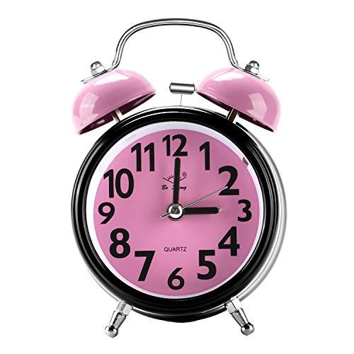 Chycet Despertador, Alarm Clock for Kids, Clásico Doble Campana Despertador con Luz de Noche, Reloj de Cuarzo Analógico con Fuerte Alarma. (Pink of Round)
