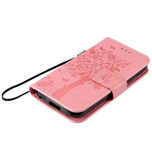 Leather Case Cover Custodia per iPhone 7G / 7 ,Ecoway Caso / copertura / telefono / involucro gatto farfalla Albero in rilievo Disegno retro della del modello PU con a Bookstyle tasche carte di credit Rosa