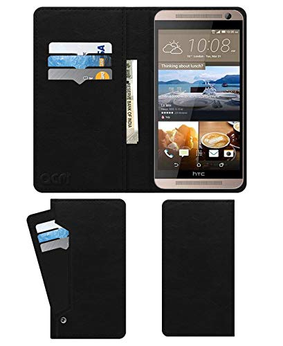 Acm Wallet Leather Flip Carry Case for HTC One Me Dual Mobile Flap Card Holder Front & Back Cover Royal Black