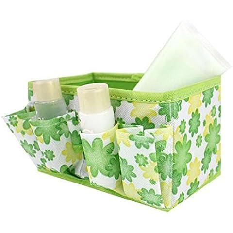 Fortan Makeup Cosmetic Storage Box Bag brillante Organizzatore pieghevole stazionario Container verde