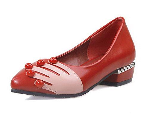 AllhqFashion Femme à Talon Bas Mosaïque Tire Matière Souple Pointu Chaussures Légeres Rouge