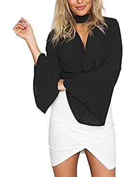 Simplee Apparel le donne colletto di bell a maniche lunghe papillon v collo camicetta camicia wrap top scollato...